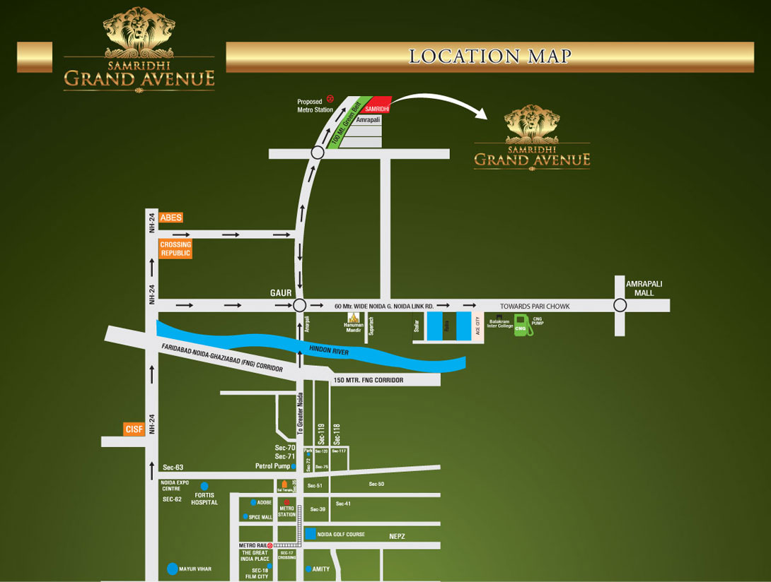 Samridhi Grand Avenue Upcoming Residential Projects in Greater Noida West Location Map