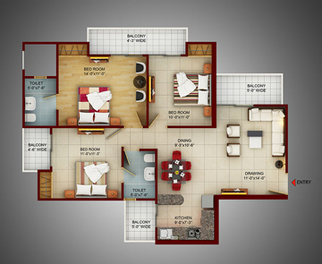 3 BHK Apartments in Noida 150 - 1395 Sq. Ft.